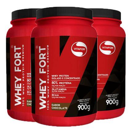 0a3d08d0c Kit 3x Kit 3x Whey Fort 900g Chocolate - Whey Protein isolado e concentrado  + Coqueteleira