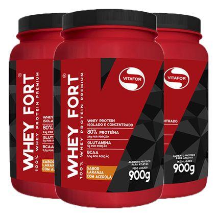 d26f16ea6 Kit 3x Whey Fort 900g Laranja com Acerola - Whey Protein isolado e  concentrado + Coqueteleira