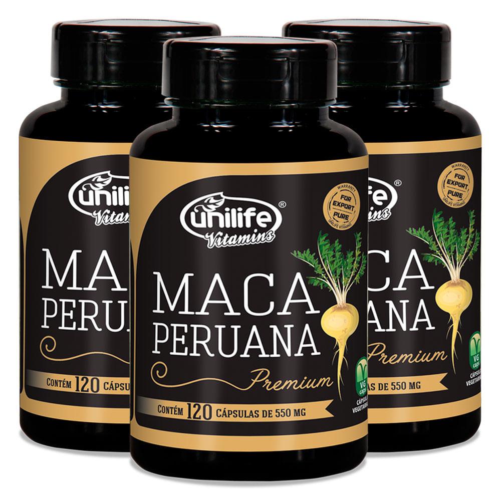 Kit 3 Maca Peruana Premium Pura 120 Capsulas Unilife