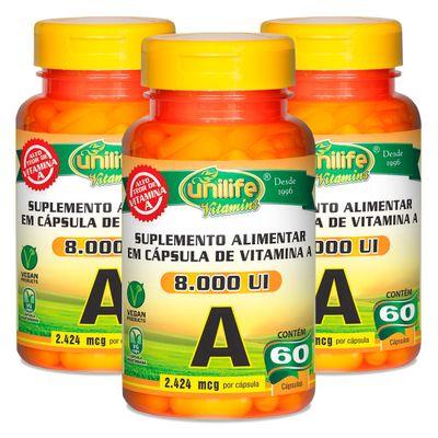 unilife-kits3x-vitaminaA-retinol-8000UI--60-capsulas-vegetarianas-vegan-loja-projeto-verao